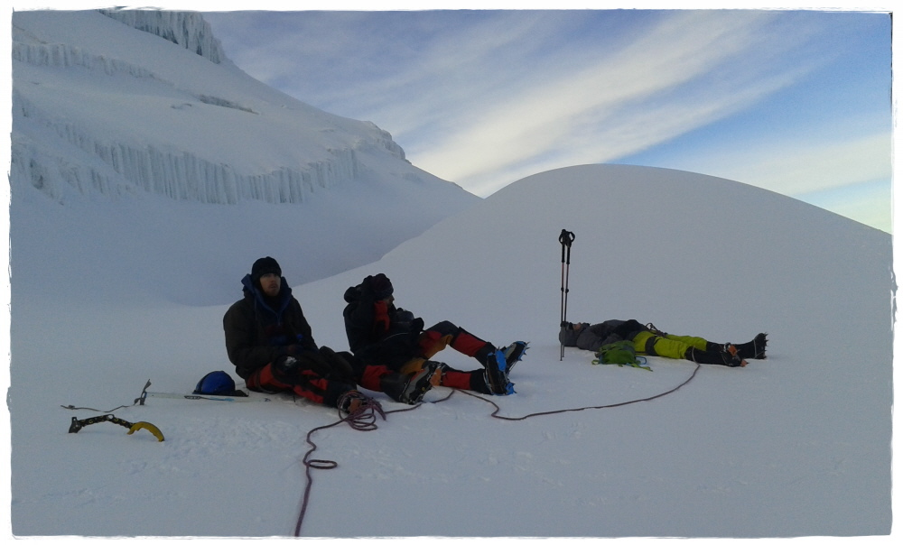 rest during ascent to Cayambe summit